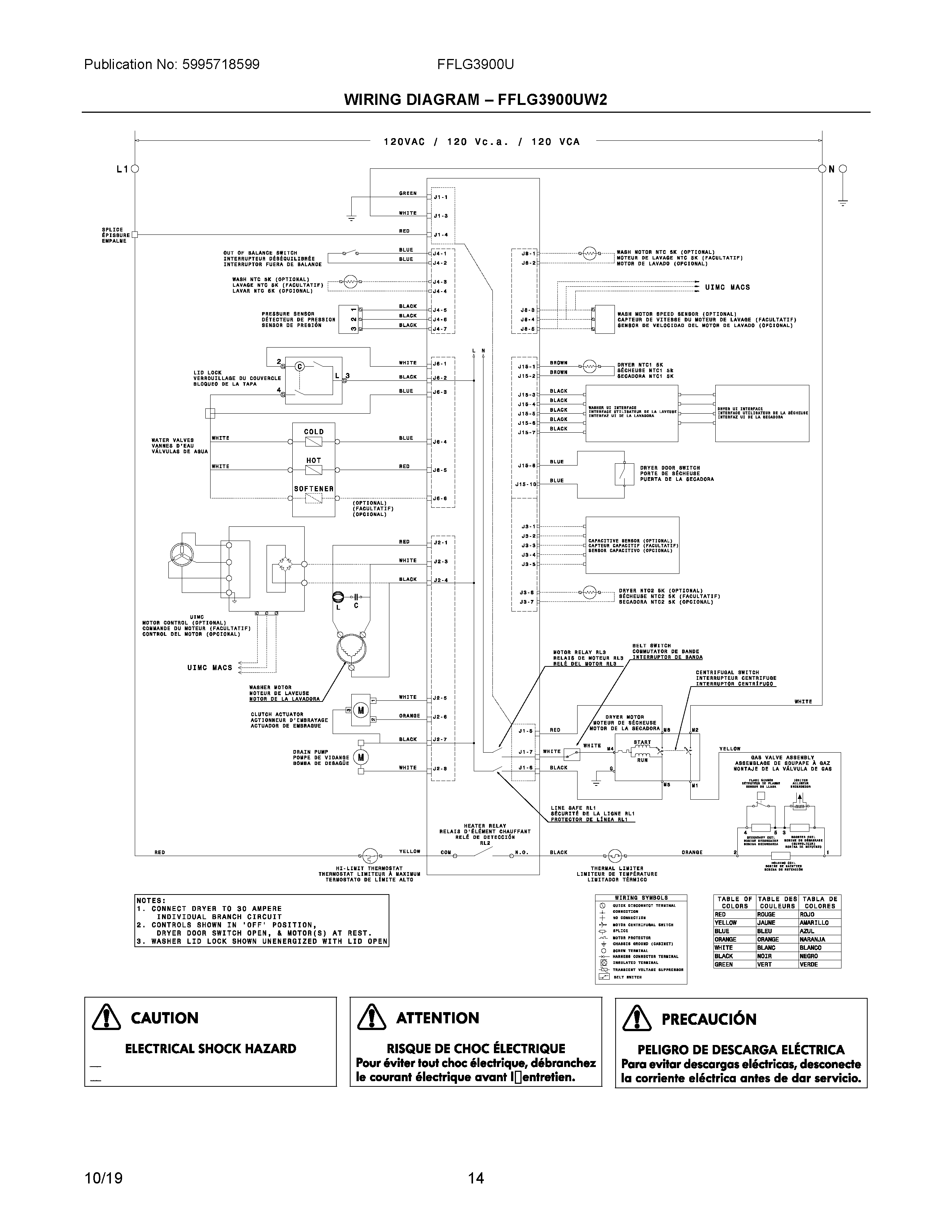 Parts and plans for Electrolux Laundry Center, Washer/gas Dryer model:  FFLG3900UW5 at MidbecMidbec